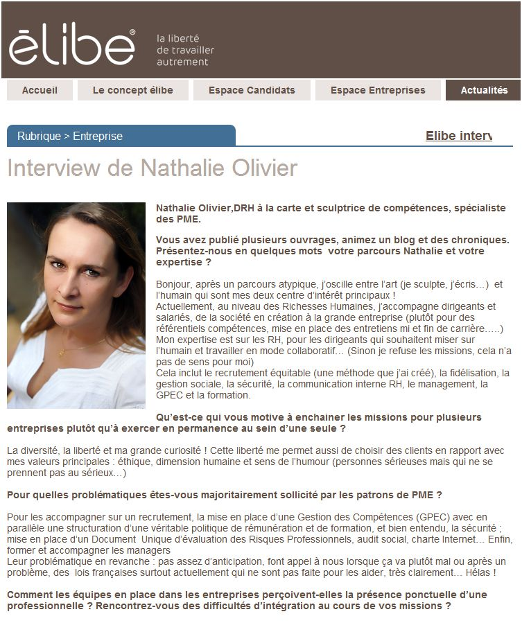 Interview nathalie olivier pour elibe