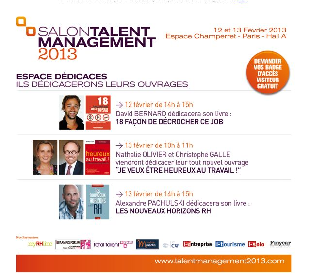 Dédicaces salon talent management 13 février 2013