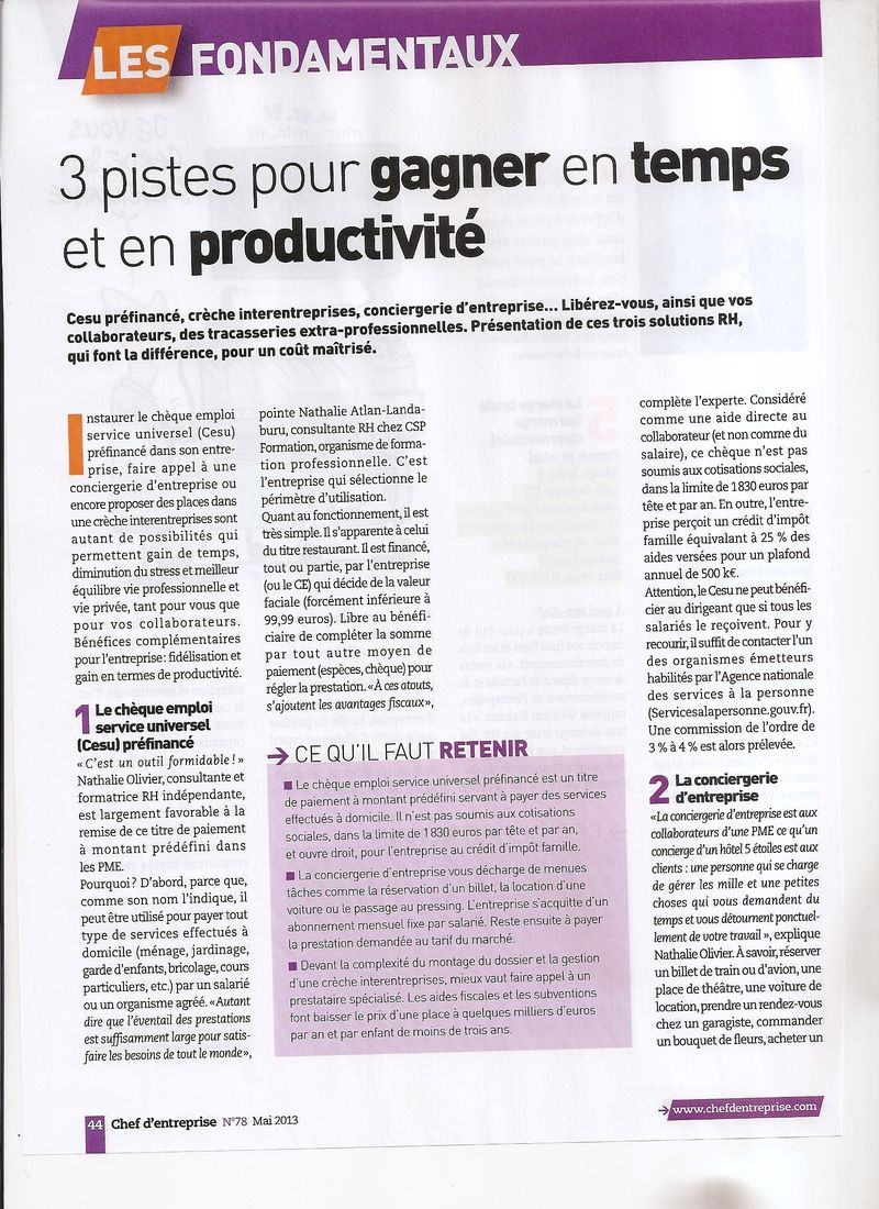 Interview nathalie olivier chef d'entreprise mai 2013