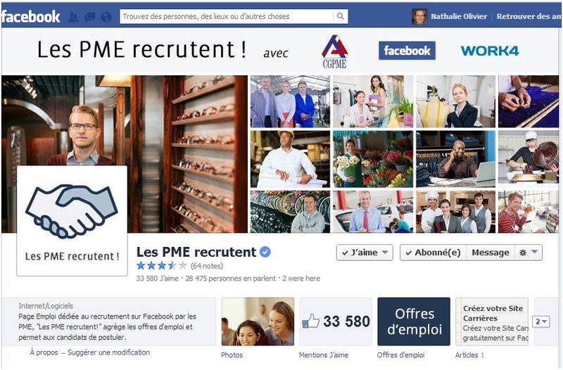 Page facebook LES PME RECRUTENT