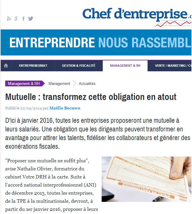 Interview nathalie olivier chef d'entreprise septembre 2014